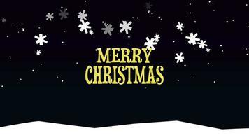 closeup animado texto de feliz natal em fundo de neve