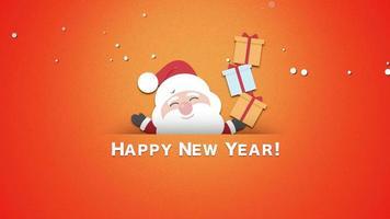 animado close-up texto de feliz ano novo, papai noel com caixas de presente video
