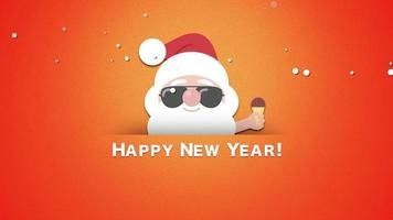 Animated closeup Happy New Year text, Santa Claus with ice cream video