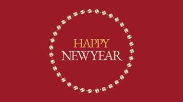 Texte de bonne année gros plan animé et flocons de neige sur fond de vacances rouge