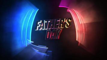 animação texto dia dos pais e movimento linhas neon azuis, vermelhas e roxas, fundo abstrato do feriado