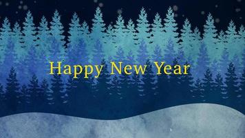 closeup animado texto de feliz ano novo e paisagem de inverno com árvores e neve no fundo do feriado