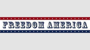 closeup animado texto liberdade américa em fundo de feriado, dia da nação dos eua