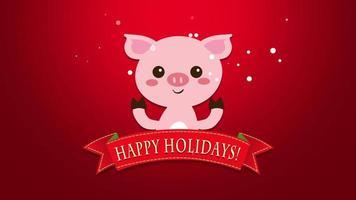 closeup animado texto de boas festas e porco engraçado video