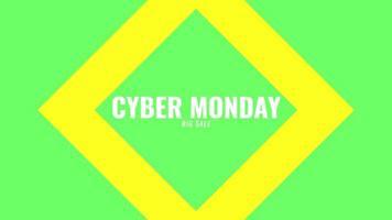 texte d'introduction d'animation cyber lundi sur fond de mode et de minimalisme vert avec forme géométrique