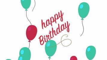closeup animado texto de feliz aniversário com balões no fundo do feriado