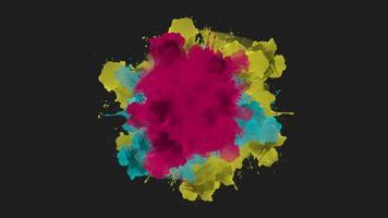 Animación salpicaduras de colores abstractos, fondo de discoteca de movimiento