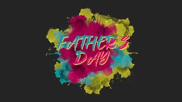animación texto día del padre sobre fondo de pincel y grunge colorido splash