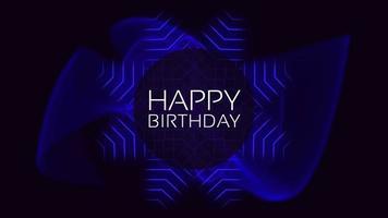 Animationstext alles Gute zum Geburtstag und Bewegung abstrakte blaue Neonlinien, Disco-Hintergrund