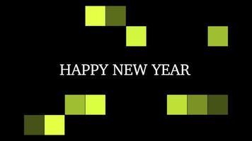 texto de introdução de animação feliz ano novo em fundo preto de moda e minimalismo com pixels amarelos