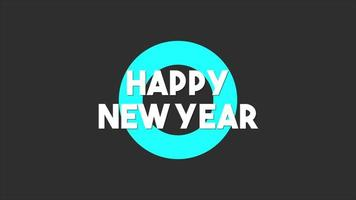 texto de animação feliz ano novo em fundo de moda negra e minimalismo com círculo azul