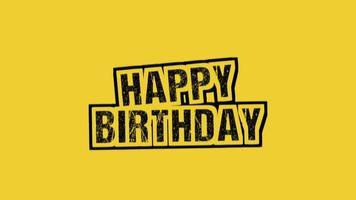 texto de introdução de animação feliz aniversário em hipster amarelo e fundo grunge com salpicos manchados