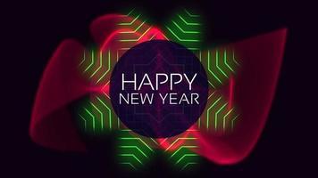 texto de introdução de animação feliz ano novo na moda e plano de fundo do clube com ondas vermelhas e verdes brilhantes