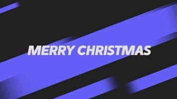 animação texto feliz natal em fundo preto fashion e minimalismo com listras azuis