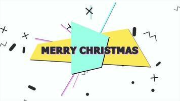 animação texto feliz natal e movimento formas geométricas abstratas, fundo de memphis