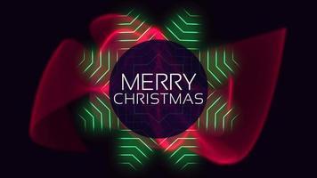 animação texto de introdução feliz natal sobre moda e plano de fundo do clube com um círculo brilhante