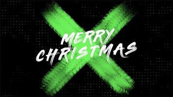 animação texto de introdução feliz natal sobre moda verde e fundo de pincel