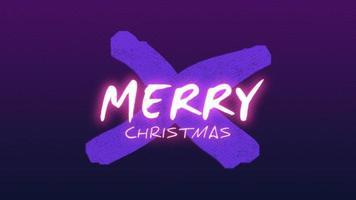 animação texto feliz natal na moda e plano de fundo do clube com uma cruz azul brilhante