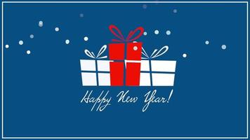 Animated closeup Happy New Year text, three gift boxes on blue background video
