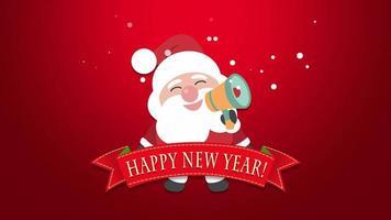 closeup animado texto de feliz ano novo e papai noel video