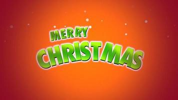 closeup animado texto de feliz natal em fundo laranja