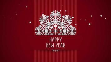 Texte de bonne année gros plan animé, flocons de neige blancs sur fond rouge