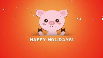 animado close up texto de boas festas e porco engraçado video