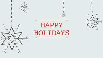 Gros plan animé texte joyeuses fêtes et flocons de neige blancs avec de la neige sur fond de vacances