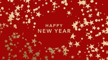 Texte de bonne année gros plan animé et flocons de neige or et étoiles sur fond de vacances d'hiver