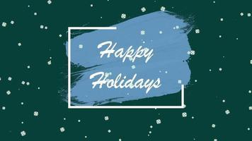 closeup animado texto de boas festas e paisagem de inverno com neve no fundo do feriado