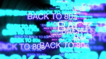 movimento do texto em néon de volta aos anos 80 em fundo escuro