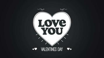 animierte Nahaufnahme Ich liebe dich Text und Bewegung romantisches weißes Herz auf Valentinstag Hintergrund