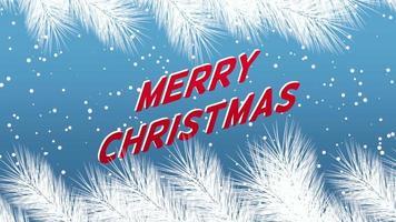 Gros plan animé texte joyeux Noël et paysage d'hiver avec des flocons de neige et des branches d'arbres de Noël sur fond de vacances
