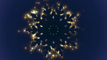 closeup animado, flocos de neve e brilhos dourados no fundo do feriado