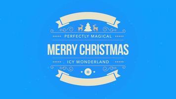 closeup animado texto de feliz natal, floco de neve branco e glitter em fundo azul de neve com banner retrô