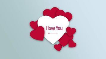 animierte Nahaufnahme Ich liebe dich Text und Bewegung romantische rote und weiße Herzen auf Valentinstag Hintergrund