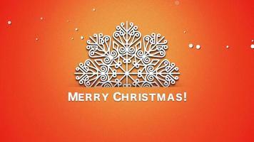 Texte de joyeux Noël gros plan animé, flocons de neige blancs sur fond orange