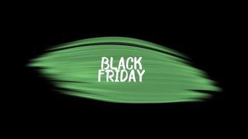 texto de introdução de animação black friday sobre moda verde e fundo de pincel video