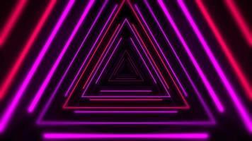 movimento triângulos de néon coloridos, fundo abstrato video