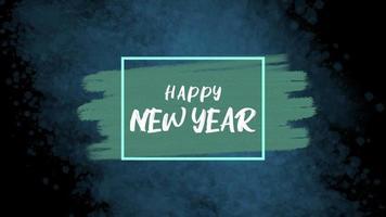 texto de animação feliz ano novo na moda azul e fundo de pincel video