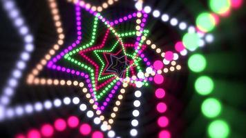 movimento estrelas de néon coloridas, fundo abstrato video