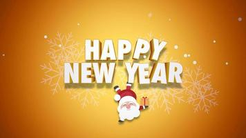 Animated close up Happy New Year text and Santa Claus with gift boxes on yellow background video