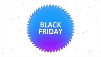 texto de introdução de animação black friday sobre fundo de moda e minimalismo branco com círculo azul geométrico
