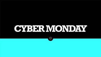 Animation intro text Cyber Monday on black fashion and minimalism background with geometric blue line