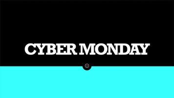 texte d'introduction d'animation cyber lundi sur fond de mode et de minimalisme noir avec ligne bleue géométrique