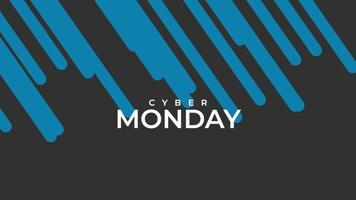 Animation intro text Cyber Monday on black fashion and minimalism background with blue stripes