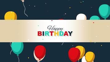 closeup animado texto de feliz aniversário no fundo do feriado