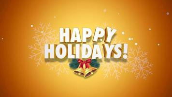 closeup animado texto de boas festas e sinos em fundo amarelo