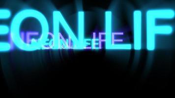 movimento de néon texto néon vida em fundo escuro