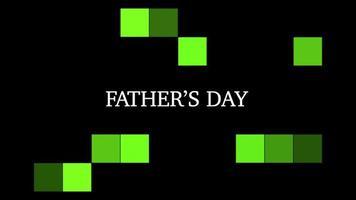 animação texto dia dos pais em fundo preto de moda e minimalismo com quadrados verdes geométricos